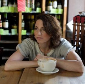 Penelope Trunk, enjoying Madison's finest coffee (Barriques)