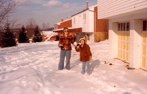 When things were simpler, and snow days were king. My sister Shelle and I.
